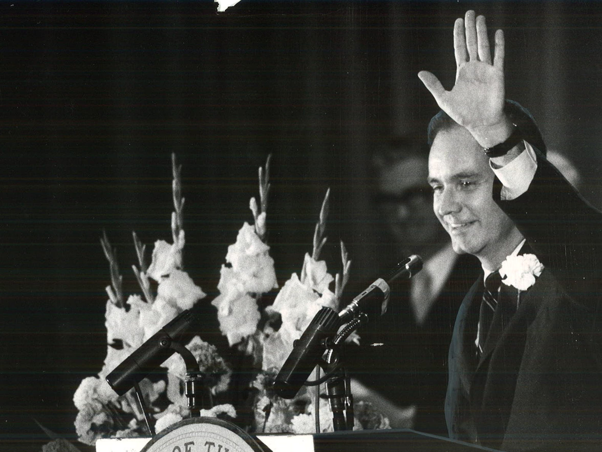 From 1969: Iowa Gov. Robert Ray waves to the crowd