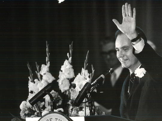 From 1969: Iowa Gov. Robert Ray waves to the crowd at Veterans Memorial Auditorium before delivering his inaugural address in January 1969.