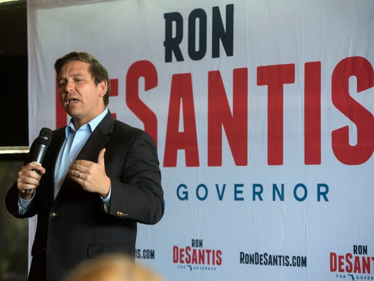 Candidate for Florida governor Ron DeSantis speaks to supporters Saturday, June 9, 2018, during a joint rally with Matt Gaetz at The Palafox House in downtown Pensacola.
