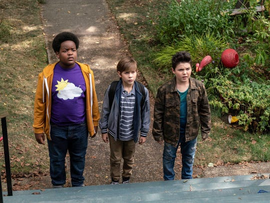 "Things don't go as planned for Lucas (Keith L. Williams, left), Max (Jacob Tremblay) and Thor (Brady Noon) in ""Good Boys."""