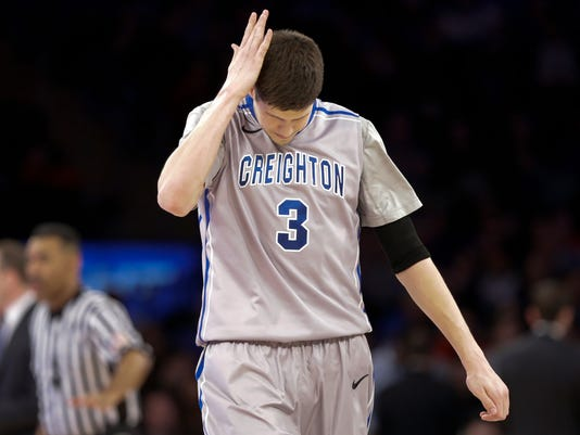 Creighton's Doug McDermott (3) reacts during the second half of an NCAA college basketball game against Providence in the finals of the Big East Conference tournament Saturday, March 15, 2014, at Madison Square Garden in New York. Providence won the game 65-58. (AP Photo/Frank Franklin II)