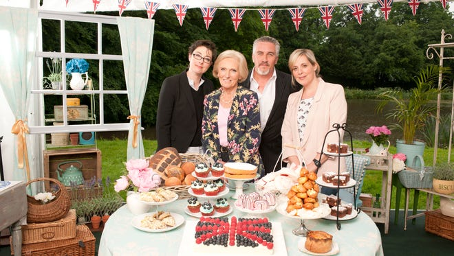 """Sue Perkins, Mary Berry, Paul Hollywood and Mel Giedroyc on """"The Great British Baking Show."""""""