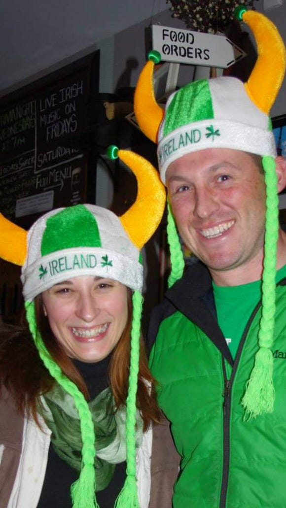 Two St. Patrick's Day celebrants at Barry's last year show their spirit. (Photo: M. Rosenberry)