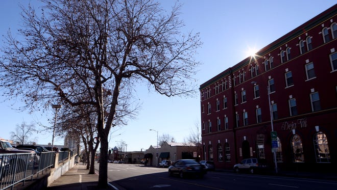 The city is considering planting more trees in downtown Redding.