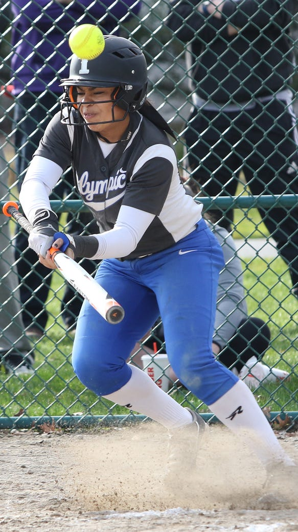 Olympic's Kiki Mitchell laid down a bunt that took