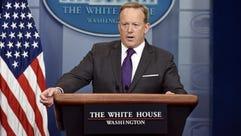 White House press secretary Sean Spicer briefs members