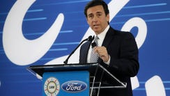 Ford President and CEO Mark Fields addresses the Flat