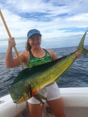 Kendall Owens caught this dorado while fishing in Costa Rica near her parents' fishing lodge in Gulfito.