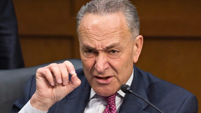 A file photo of Democratic Sen. Chuck Schumer of New York.