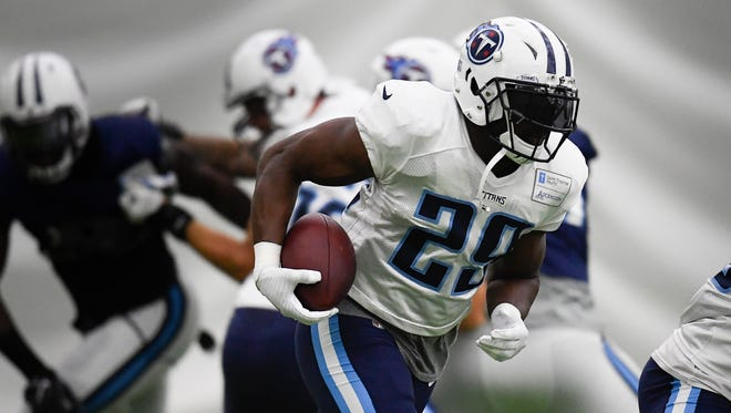 Titans running back DeMarco Murray (29) races up the field during training camp practice at Saint Thomas Sports Park Monday, Aug. 14, 2017 in Nashville, Tenn..