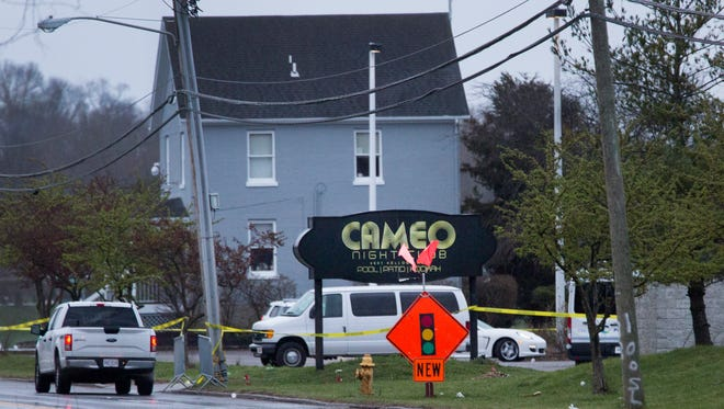 """A large crime scene unit at the Cameo Night Club on Kellogg Ave. in Linwood, next to the Rivertown Marina. The overnight shooting at the club, which was packed according to police, left one dead and 14 injured. Police called the scene """"chaotic and complicated""""."""