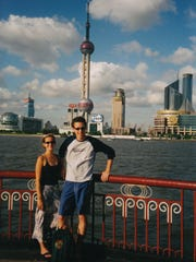 Shannon Fowler with Sean in Shanghai.