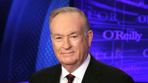 "FILE - In this Oct. 1, 2015 file photo, Bill O'Reilly of the Fox News Channel program ""The O'Reilly Factor,"" poses for a photo on the set of his show in New York. O'Reilly's next book ""Old School: Life in the Sane Lane,"" is scheduled for release on March 28. (AP Photo/Richard Drew, File)"