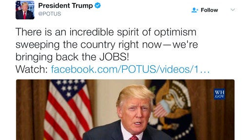 In this March 6, 2017 image, a posting from President Donald Trump's Twitter account, @POTUS. They are the 140-character bursts that have helped define the first 100 days of the Trump presidency. But they seem to be losing some of their impact.President Donald Trump's traction on his medium choice has slipped, as his tone and button-pushing tendencies have cooled.