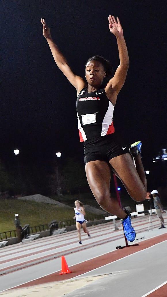 Georgia junior Keturah Orji, a Mount Olive alumna, competes at the SEC Championships.