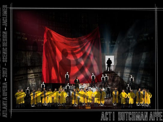 """A production sketch of """"The Flying Dutchman,"""" an opera"""