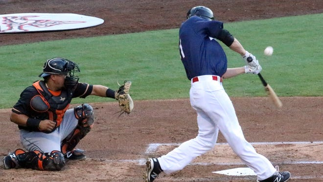 Nick Buss of the El Paso Chihuahuas swings at a pitch earlier this season.