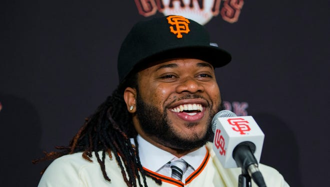 Dec 17, 2015: San Francisco Giants announce the signing of pitcher Johnny Cueto at a press conference at AT&T Park.