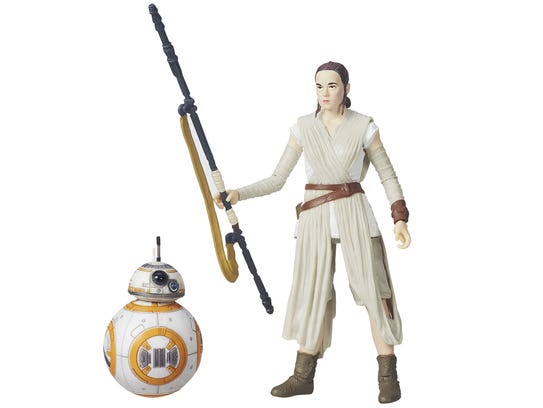 A 6-inch 'Star Wars: Black Series' figure of Rey comes