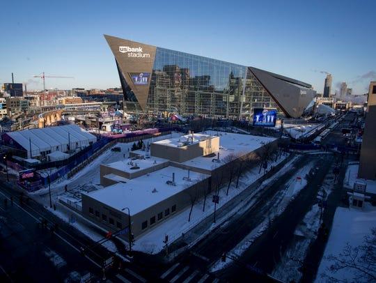 Fans enter the stadium before the NFL Super Bowl 52