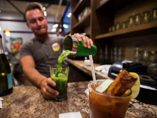 "Bartender Jeff Shrider makes a ""Green With Envy"" vegetable"