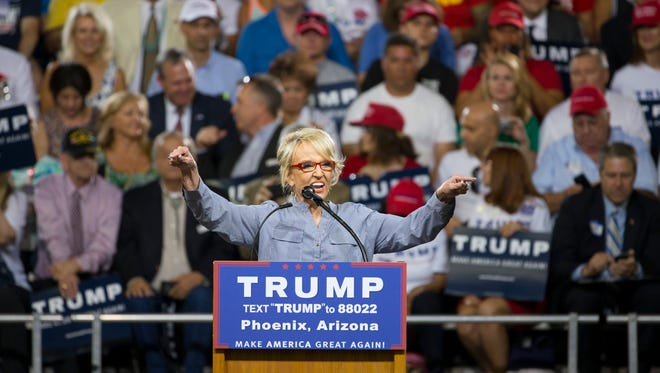 Former Gov. Jan Brewer at a Trump rally in Phoenix.