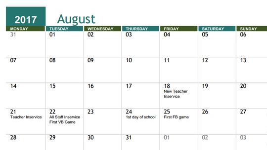 Screenshot of Harrisburg School Calendar