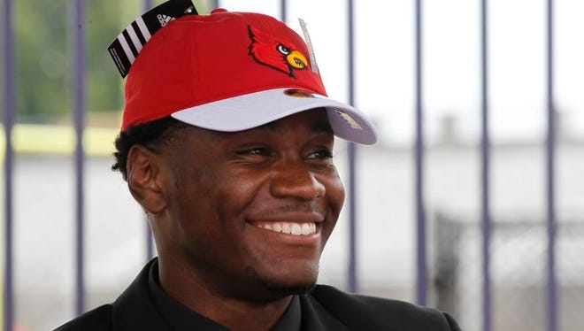 Male High School's Keion Wakefield announces that he will commitment to the University of Louisville during a ceremony Thursday at his school.