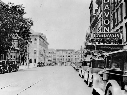 """The Bardavon 1869 Opera House, photographed on July 27, 1926. The marqauee lists part of the B. F. Keith vaudeville program: Jean Joyson in """"The Glad Girl of Songland."""""""