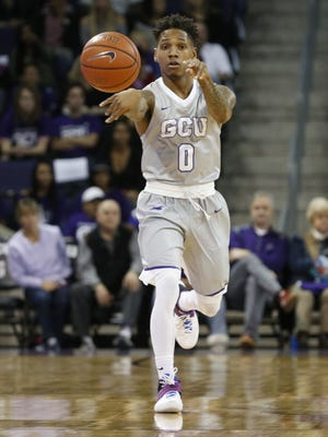 GCU's DeWayne Russell (0) passes the ball up court in the second half against Utah Valley at Grand Canyon University on January 7, 2017 in Phoenix, Ariz.
