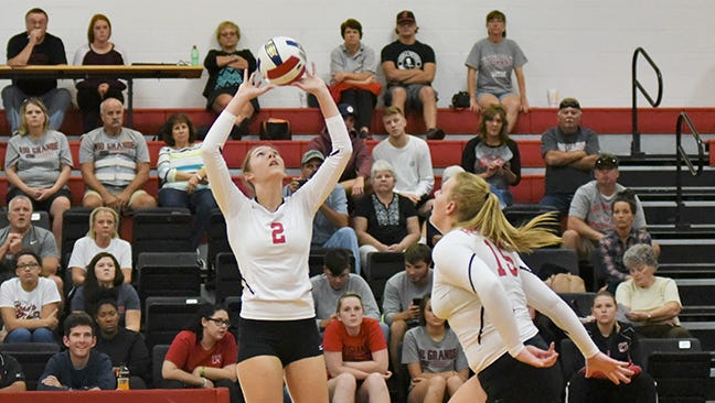 Pleasant grad Kayla Briley sets a ball to teammate Rachael Gilkey during a college volleyball match for Rio Grande.