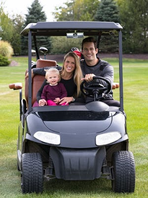Jessica and Kevin Lynch, seen here with daughter Ella, plan to open Birdies mini-golf and restaurant sometime in summer 2019.