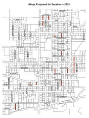 Map of Stayton alleys identified for vacation by the city.