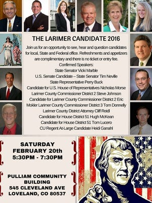 The flyer for the Saturday candidate event