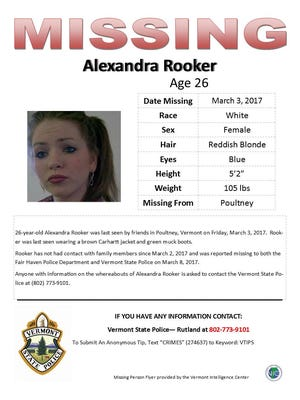 State police were asking for the public's help Friday in locating Alexandra Rooker.