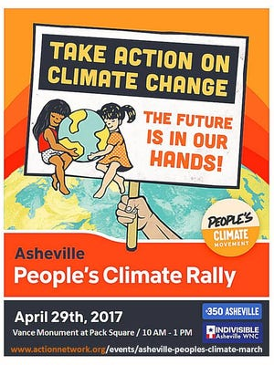 The Asheville People's Climate Rally starts at 10 a.m.  April 29 near the Vance Monument.