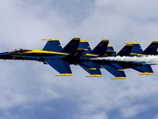Blue Angels in flight at the 2014 Vero Beach Air Show.