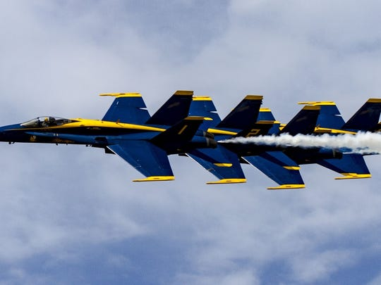Blue Angels in flight at the 2014 Vero Beach Air Show.