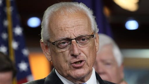 """FILE - In this June 16, 2015 file photo, Rep. Bill Pascrell, D-N.J., accompanied by fellow House Democrats, gestures during a news conference on Capitol Hill in Washington.  Pascrell says a man who gunned down a security guard at a federal building in Manhattan before killing himself was a whistleblower who had been given """"a raw deal"""" by the agency that fired him. Pascrell said Saturday, Aug. 22  that several members of his staff worked with gunman Kevin Downing to resolve his case and Downing never showed any violent tendencies. Pascrell says he has no idea why Downing snapped. (AP Photo/Lauren Victoria Burke)"""