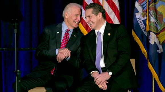 Vice President Joe Biden talks with New York Gov. Andrew