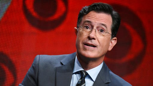 """FILE - In this Aug. 10, 2015, file photo, Stephen Colbert participates in """"The Late Show with Stephen Colbert"""" segment of the CBS Summer TCA Tour in Beverly Hills, Calif.  The """"Midnight Confessions"""" segment from The Late Show With Stephen Colbert"""" is the basis for an upcoming print and audio release, Simon & Schuster announced Friday, April 14, 2017.  """"Midnight Confessions,"""" the book, is scheduled for Sept. 5."""