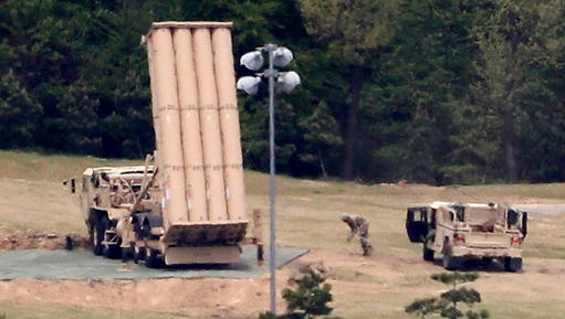 A U.S. missile defense system called Terminal High Altitude Area Defense, or THAAD, is installed at a golf course in Seongju, South Korea, Tuesday, May 2, 2017. The contentious U.S. anti-missile system in southeastern South Korea is now operating and can now defend against North Korean missiles, a South Korean official said Tuesday.