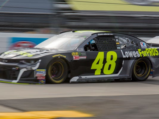 Jimmie Johnson drives during practice for the NASCAR Cup Series auto race at Martinsville Speedway in Martinsville, Va., Saturday, March 24, 2018. (AP Photo/Matt Bell)