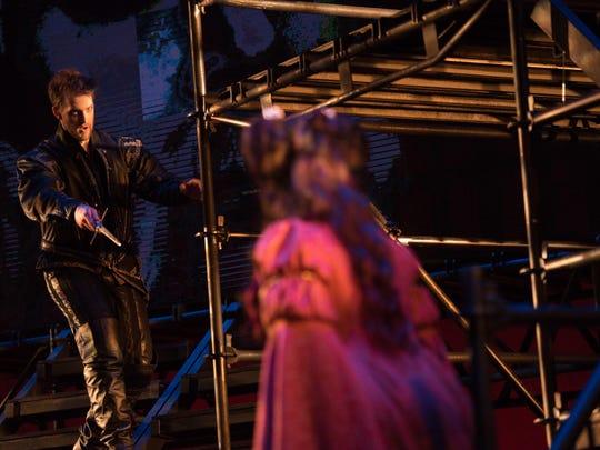 Hamlet (Joshua Kohl) confronts his mother, Queen Gertrude (Lara Tillotson) in OperaDelaware's 2016 Opera Festival's 'Amleto' (Hamlet).