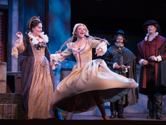 """Director Dean Anthony has pulled out all the stops in the OperaDelaware Festival production of """"Falstaff,"""" staging the work with an outrageous abandon that marries vaudeville with the Three Stooges and Elizabethan hijinks, while carefully masking the immense technical skill."""