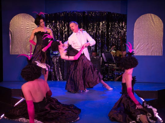 """Starring in """"La Cage Aux Folles"""" at City Theater Company are, from left, William Bryant, Paul McElwee, Zach DeBevac, Andrew Dean Laino and Christian Ryan."""