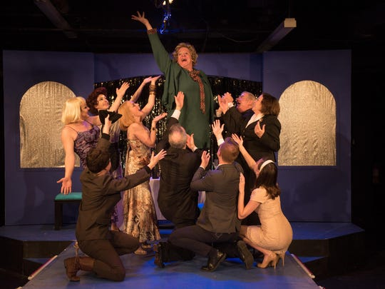 """Starring in """"La Cage Aux Folles"""" at City Theater Company are, from left, standing, Andrew Dean Laino, Christian Ryan, Kerry Kristine McElrone, Patrick O'Hara, Greg Tigani and Mary Catherine Kelley; and, on the floor, Dylan Geringer, Paul McElwee, Zachary J. Chiero and Grace Tarves."""