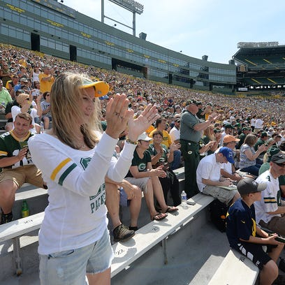 Green Bay Packers fans applaud during the annual shareholders