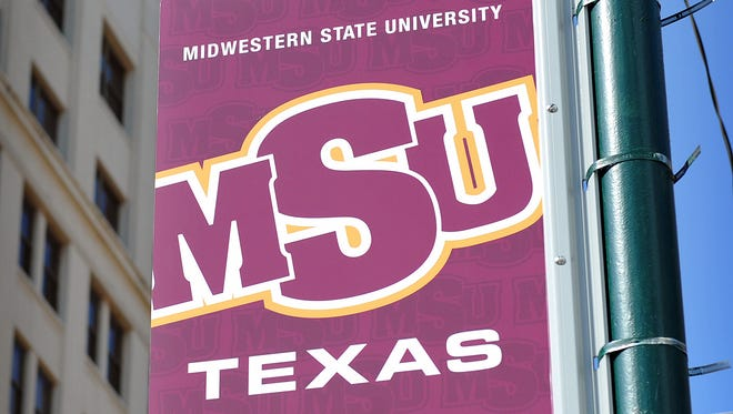 """Banners recently installed in downtown Wichita Falls link the rest of the community to the city's university. The banners also display a new branding strategy, adding """"Texas"""" to MSU's name."""