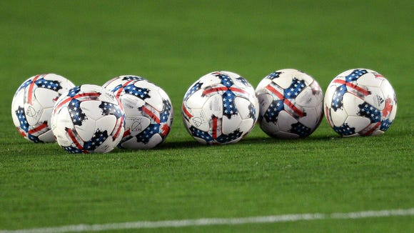 Soccer balls on the field